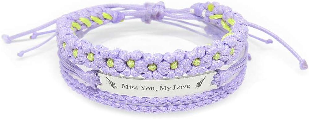Memorial Jewelry Miss You Purple FL- A Sweet Memorial Gift for Women My Love Miiras Remembrance Bracelet