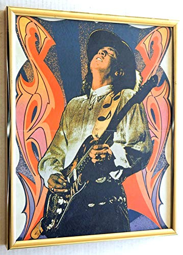 Stevie Ray Vaughan 14 Inch x 11 Inch Collectible Framed Art Poster Very Rare - Shipped In A Custom Metal And Glass Frame (The Very Best Of Stevie Ray Vaughan And Double Trouble)