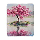 My Little Nest Warm Throw Blanket Oil Painting Cherry Tree Lightweight Microfiber Soft Blanket Everyday Use for Bed Couch Sofa 50'' x 60''