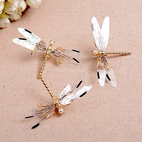 (Metal Dragonfly Hair Clip Pearl Bridal Headdress Gold Hairpins Wedding Jewelry)