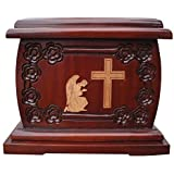 Urnporium Adult Mahogany Wooden Angel Praying Beside Cross Cherry Wood Onlay Funeral Cemetery Urn for Human Ashes
