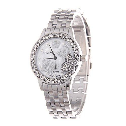 FIILIIP Women's Diamond Butterfly Wrist Watch, Silver Stainless Steel, Geneva Fashion Quratz Watches
