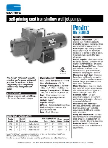 Sta-Rite HNC 1/2 H.P. 1/115-220V, Shallow Well Jet Pump with a 1