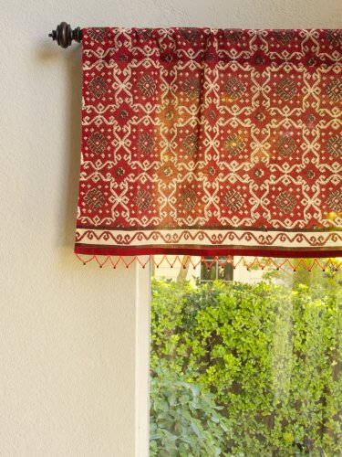 Ruby Kilim ~ Rustic Red Sheer Beaded Window Valance Treatment 46×17 Review