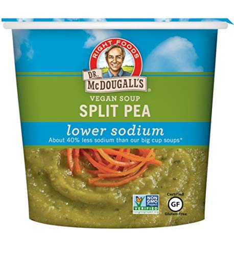 Dr. McDougall's Right Foods Vegan Split Pea Soup Lower Sodium, 1.9 Ounce Cups (Pack of 6) Gluten-Free, Non-GMO, No Added Oil, Paper Cups From Certified Sustainably-Managed - Split Pea Soup Gluten Free