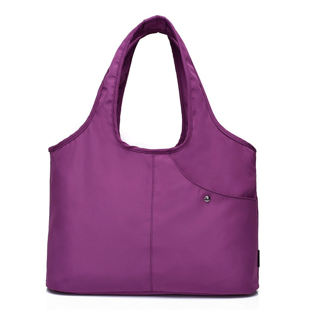 Tote Shoulder Bag Women Nylon Handbag Large Capacity Shopper Bags with Water-Resistant Pocket for Wet Umbrella (Purple)