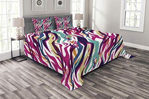 Lunarable Zebra Bedspread Set King Size, Colorful Zebra Pattern Artistic Wildlife Abstract Animal Skin Print, Decorative Quilted 3 Piece Coverlet Set with 2 Pillow Shams, Magenta Teal Orange Pulm by Lunarable