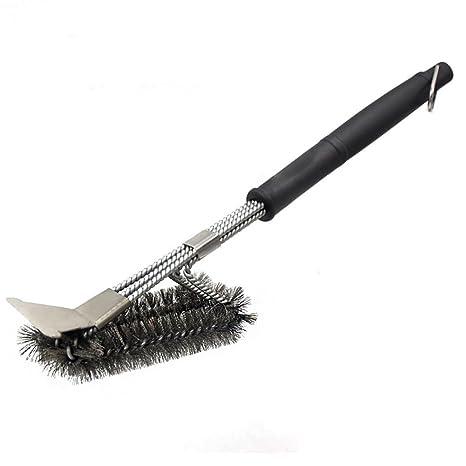 Starter Cepillo y raspador para parrilla - Accesorios extra fuertes para limpieza de barbacoa - Cerdas de alambre seguro Cepillo de limpieza Triple ...