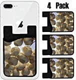 MSD Phone Card holder, sleeve/wallet for iPhone Samsung Android and all smartphones with removable microfiber screen cleaner Silicone card Caddy(4 Pack) Garlic in autumn light Image ID 24250615