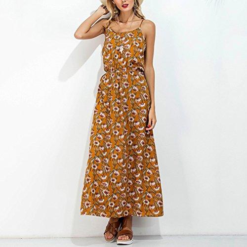 ishine Sommerkleid Damen Lang Ärmellos Maxikleid A-Linie Spaghetti Kleid Partykleid Festliches Kleid Partykleid Casualkleid