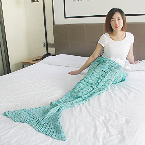 "Price comparison product image Mermaid Tail Blanket Crochet and Handmade For Kids Adult Wave Mermaid Blankets Blanket Seasons Warm Soft Living Room Sleeping Bag Best Birthday Christmas gift (90""x36"", Lake Green) (Lake Green)"