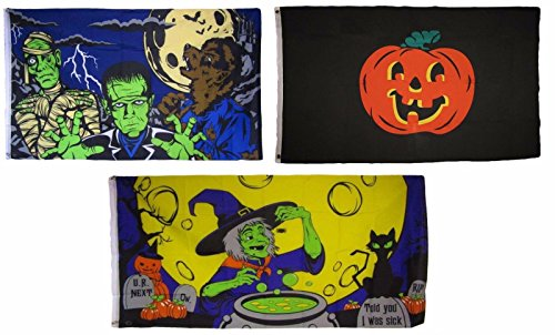 ALBATROS 3 ft x 5 ft Happy Halloween 3 Pack Flag Set #44 Combo Banner Grommets for Home and Parades, Official Party, All Weather Indoors Outdoors]()