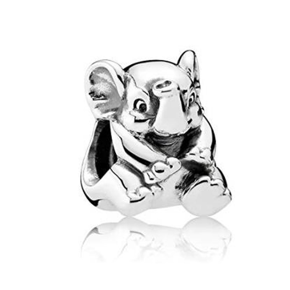 Romántico Amor Fit Pandora Charms Bracelets Silver Devoted Puppy Dog Bead Lucky Animal Pet Charms (elephant)