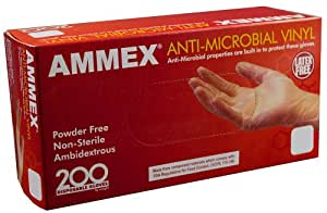Ammex AAMV Anti-Microbial Vinyl Glove, Latex Free, Disposable, Powder Free, Small (Box of 200)
