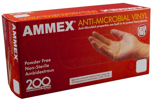 AMMEX - AAMV44100 - Vinyl Gloves - Anti-Microbial, Powder Free, Food Safe, Industrial, 3mil, Medium, Clear(Case of 2000) by Ammex