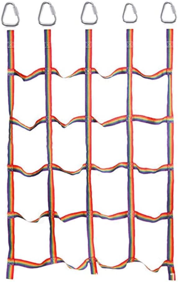 Greatideal Training Climbing Net Outdoor Rainbow Ribbon Net Physical for Daily Sports and Entertainment