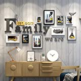 WollWoll Family Word European Living Room Bedroom City Life Yellow Taxi Wood Photo Frame Set (172 cm x 2 cm x 96 cm)