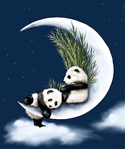 CaptainCrafts Diy 5D Diamond Painting by Number Kits Full Drill Diamond Painting - two pandas on the moon (25X30cm/10X12inch)