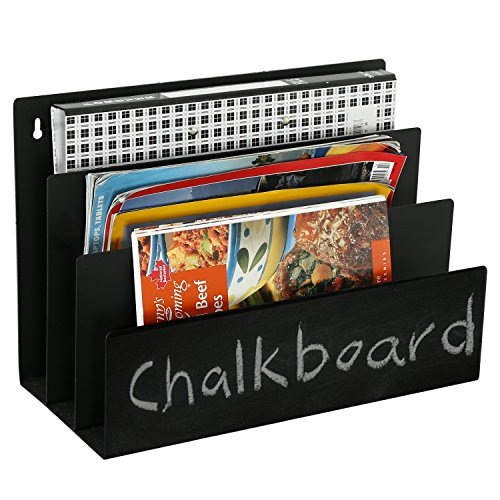 [3 Slot Chalkboard Finish Metal Magazine Rack, Wall-Mounted Document Organizer, Black] (Magazine Display Finish)