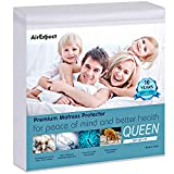 Waterproof Mattress Protector Queen Size - AirExpect 100% Organic Cotton Hypoallergenic Breathable Mattress Pad Cover, 18' Deep Pocket, Vinyl Free - 60' x 80'