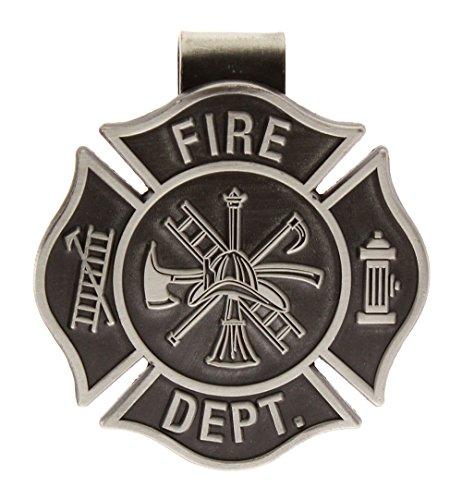 Firefighters Visor Clip Cross Pewter, Fireman Visor Clips