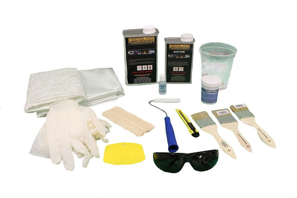 Fiberglass and Resin Repair Kit - 1 Quart Resin & 2 Yards of Fiberglass Plus Supplies
