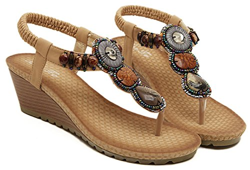 apricot IDIFU Sandals Wedge Women Shoes Beaded qpp81wT