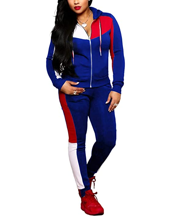 cd8f3517a2b Womens 2 Piece Full Sleeve Sets Skinny Pants Jogger Striped Tracksuit  Sweatsuit at Amazon Women's Clothing store: