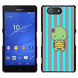 EJOY---Cubierta de la caja de protección para la piel dura ** Sony Xperia Z3 Compact ** --azul tortuga líneas grises lindos de la historieta