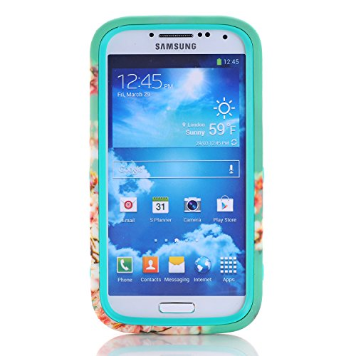 Deego S4 Case, Galaxy S4 Case, Heavy Duty 3-in-1 Sakura Design Easy to Use Silicone Plastic Protective Hard Case Cover for Samsung Galaxy S4 (Green)