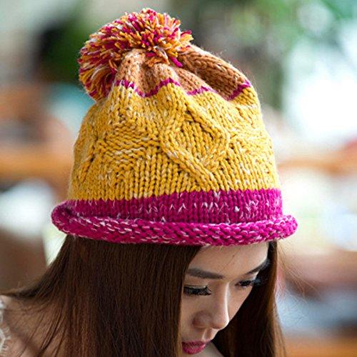 Tejido de Natural del la 3 Coreana Maozi Knit Bola Sombrero Lana de 1 Versión Rizado Largo qXAqHw8