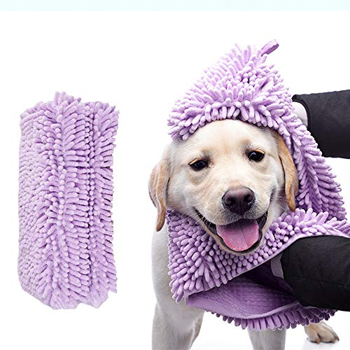 Skingwa Towel for Cleaning, Multifunctional Towel Dog Shower Towel Ultra Absorbent Microfiber Chenille Dog Bath Dry Towel for Grooming,13.8x31.5 inch (Violet)