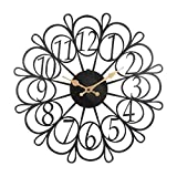 Sagebrook Home Metal Floral Wall Clock, Black/Gold, Window Box, 17.25x1.25x17.25