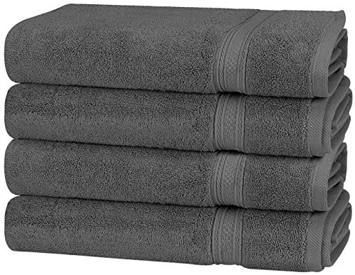 Utopia Towels Premium 700 GSM Cotton Large Hand Towels (Grey, 4-Pack,16 x 28 inches) - Multipurpose Towels for Bath, Hand, Face, Gym and Spa