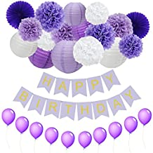 JUSLIN Pack of 28 Lavender Dark Purple White Paper Crafts Paper Pom Poms Paper Lanterns, Purple Paper Fans, Happy Birthday Bunting Banner, Perfect Party Decorations