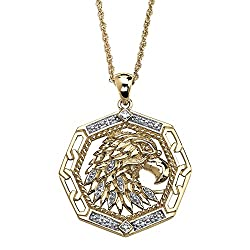 Men's White Diamond Accent 10k Yellow Gold Eagle Pendant