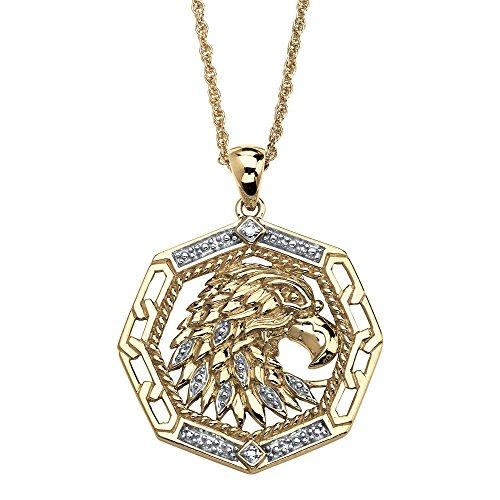 Men's White Diamond Accent 10k Yellow Gold Eagle - Eagle Pendant 10k Gold