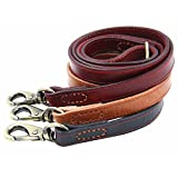 Moonpet™ Soft and Extra Durable Real Genuine Full Grain Leather Dog Training Leash Lead - Premium Heavy Duty 4 ft x 4/5 Inch - Best for Male/Female Medium Large Breeds - Black