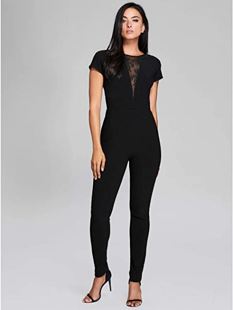 82cab33b2330 Marciano Guess Women s Vivid Lace Jumpsuit Jet Black  Amazon.ca ...