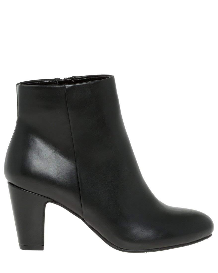 LE CHÂTEAU Women's Almond Toe Block Heel Ankle Boot,38,Black