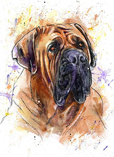 English Mastiff Watercolor Art Print of Original Painting, Pet Themed Party Nursery Home Wall Decor, Gift for Dog Mom, Dad, Parent; Rainbow Bridge Pet Loss Sympathy Housewarming Memorial Gift