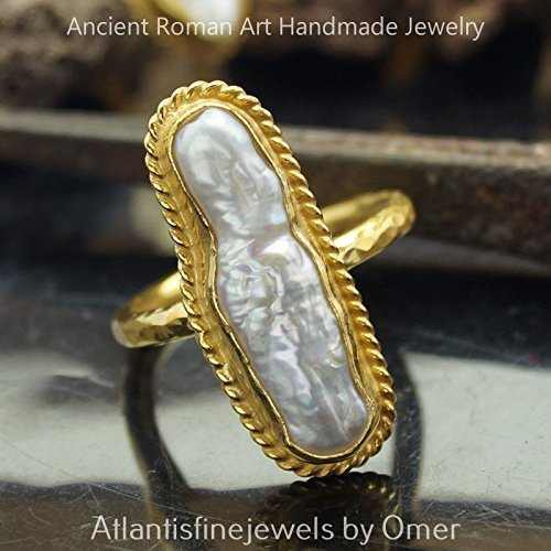 Sterling Silver Unique Hammered Pearl Ring Ancient Roman Art 24k Gold Vermeil Size 7.25