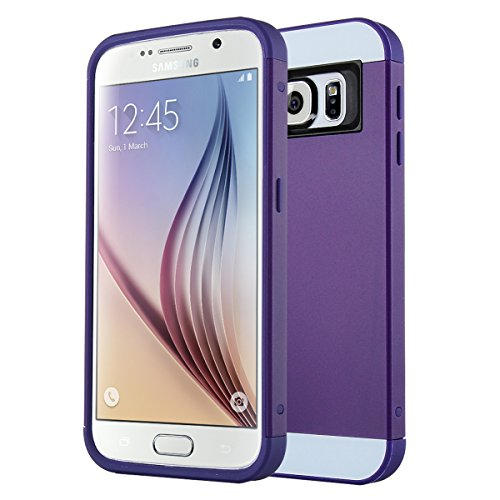 Galaxy S6 Case, S6 Case, ULAK 2in1 Hybrid Dual Layer Slim Protective Case Cover with Card Slot for Samsung Galaxy S6 (Plastic Hard Shell and Flexible TPU) (Purple/Purple)