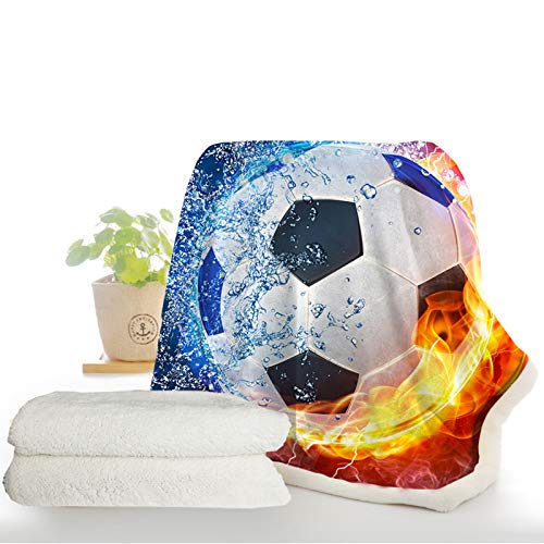 ARIGHTEX Fire and Ice Football Fleece Throw Blanket Kids Boys Soccer Ball Blanket Soft Sports Reversible Sherpa Blankets (60 x 80 Inches)