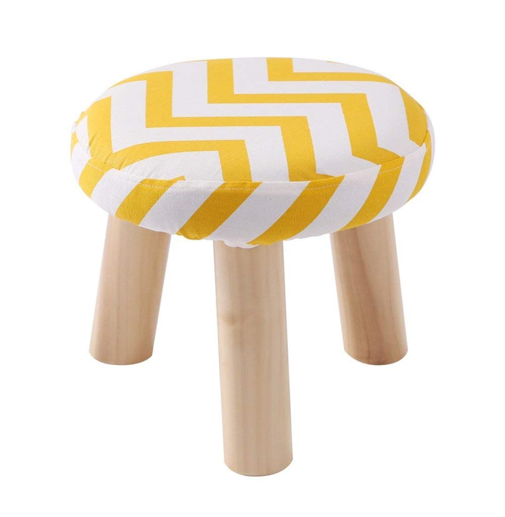 GJD Solid Wood Shoes Stool 3 Legs Round Upholstered Footstool Sofa Low Stool Footrest 28x28x25cm for Hallway (Color : #4)