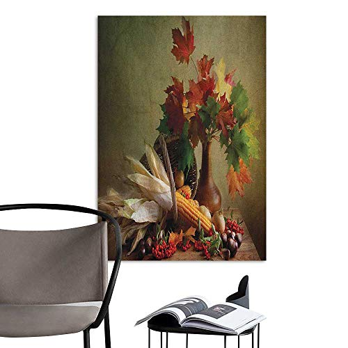 Alexandear Art Decor 3D Wall Mural Wallpaper Stickers Harvest Photograph from Death of The Nature Season Fall Vegetables and Leafs Wooden Table Multicolor Large Removable Decals W20 x H28