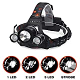 Kurtzy LED Head Lamp Flash Light Torch with Adjustable Rechargeable Battery for Camping...