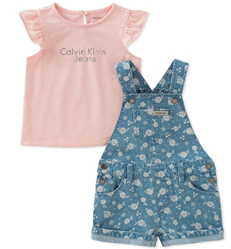 Calvin Klein Little Girls' Shortall Set, Rose/Blue, 5 by Calvin Klein Jeans