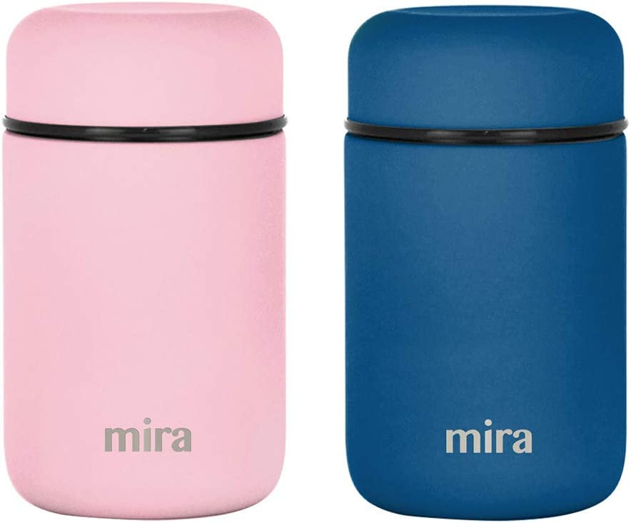 MIRA Lunch, Food Jar 2 Pack - Vacuum Insulated Stainless Steel Lunch Thermos - 13.5 oz - Set of 2 - Denim Blue, Rose Pink