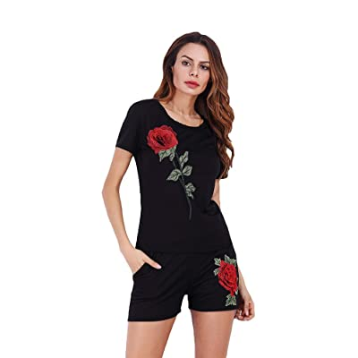 Anguang Femme Embroidery Playsuit Combishort Casuel Romper Jumpsuit d'été Mini Short